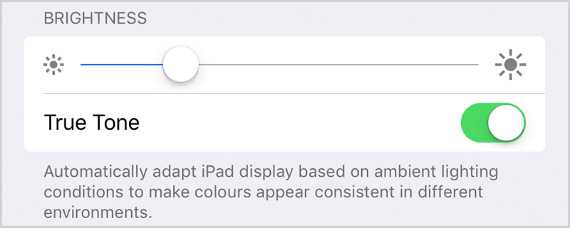 True tone display iPad Pro